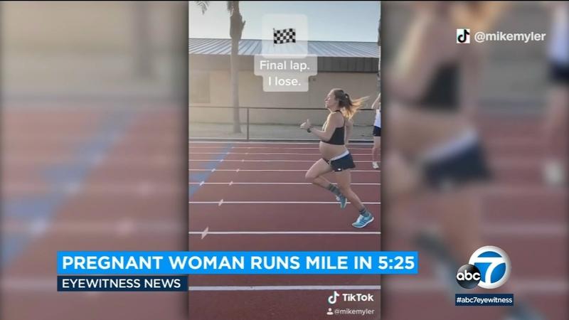 9 months pregnant women runs