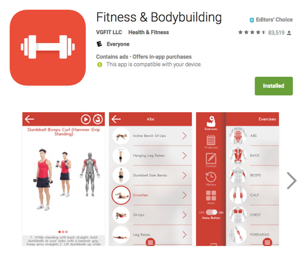 Fitness And Bodybuilding: Apps for gym workout at home